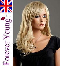 Ladies Long Blonde Wig  Full Fashion Wig Hair 2 Tone Ash Platinum Blonde Mix