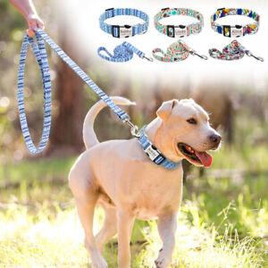 Fashion Print Nylon Personalized Dog Collars and Leash Custom Name ID Tag S M L