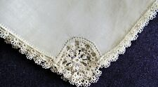 Vintage Antique Linen Handkerchief Tatted Border & Corner Queen Anne Lace Motifs