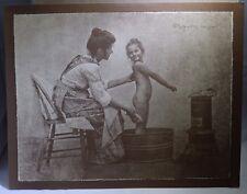 Vintage R. Hendrickson Sepia Print Mother Bathing Little Girl & Talking