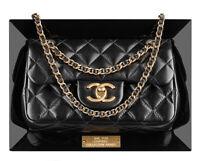 Chanel Runway Black Lambskin Leather & Plexiglass Framed Flap Bag With Dust bag