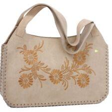 Genuine Suede Embroidery Flower Lacing Edge Shoulder Bag Handbag Purse Beige