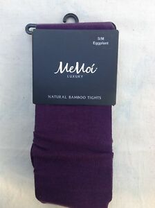 Memoi Luxury Legwear - Natural Bamboo Tights, Small, Eggplant
