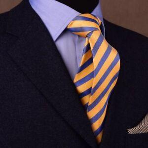 "Top Yellow & Blue Striped Tie Mens 3"" Necktie Sexy Fashion Business Fashion"