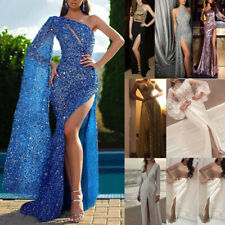 Womens Sexy Slit Maxi Dress Evening Party Wedding Cocktail Prom Formal Ball Gown