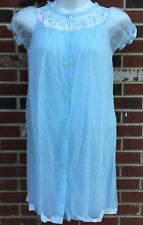Vintage Alvid Lingerie Blue Womans Large Sheer Lined Robe Sexy Negligee Acetate