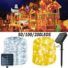50-200LED Solar Powered Rope Tube String Fairy Lights Outdoor Garden Xmas Lamp