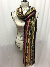 Missoni Women s Pattern Knit Fringe Wool Blend Scarf Black Orange Turquoise b90a511e609b