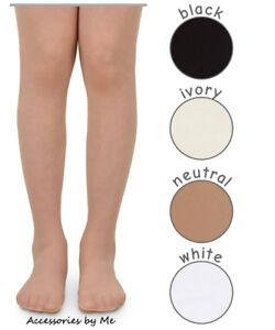 Pantyhose Neutral White Black Ivory Solid Tights Nylon Spandex Girls Kids Teens