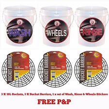 3 x 20L Heavy Duty Car Wash Buckets, Grit Guards/Bucket Barriers, 20 Litre