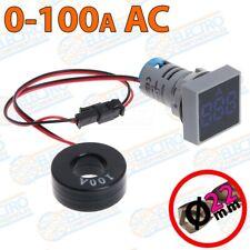 Amperimetro Digital Panel 0-100A 22mm AZUL pinza no invasivo LED