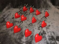 RED HEART SHAPED CHROME FINISH SHOWER CURTAIN  HOOKS  SET OF 12