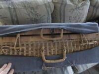 Vintage Rattan Suitcase Picnic Basket Wicker, complete