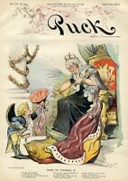 PUCK BOWING TO QUEEN VICTORIA WITH FLOWERS THRONE ANNIVERSARY CHROMOLITHOGRAPH