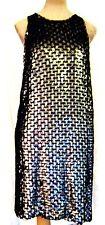 RRP£150 Topshop Unique Sexy Sequin Black crochet backless Racer Back party Dress