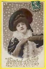 cpa Fantaisie BONNE ANNÉE 1912 Femme Neige Fourrure Chapeau Cachet LES VANS