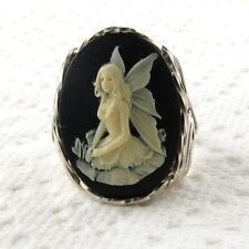 Fairy Cameo Ring .925 Sterling Silver Jewelry Any Size Black Resin
