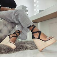 Clear Strappy Wedge High Heel Sandals Women Platform Open Toe Casual Roma Shoes