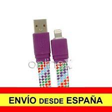 Cable Plano Trenzado Valido para iPhone iPad iPod Carga-Datos Lila 1m a1787