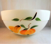"""Fire-King Gay Fad Fruit 8 5/8"""" Mixing Bowl Anchor Hocking peach pear grapes"""