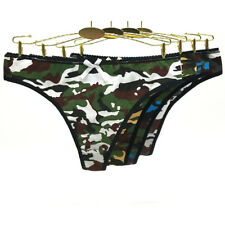 4 Pack Ladies Sexy Cotton Camouflage Printed Thongs G-string Knickers Underpants