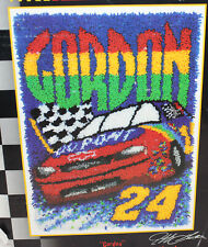 "Vintage Caron Latch Hook Kit NASCAR Jeff Gordon #24 20"" x 30"" Racing Car in Box"