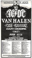 """Scheck11P5 advert 5x10"""" 1984 Monsters of Rock Concert (Ac : Dc- Van Halen- Y & T"""
