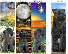 3 set-Kerry Blue Terrier Bookmark Dog Puppy Black Dark Gray Art Book Mark Card