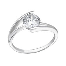 TJS 925 Sterling Silver Eternal Solitaire Engagement Ring Sz 7 Simulated Diamond
