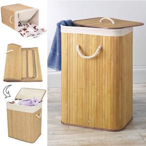 Bamboo Laundry Clothes Storage Baskets +Lids Hamper Organizer Bin, Double/Single