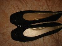 monsoon accessorize shoes bnwt black flat fabric size 6 eur 39 metallic thread