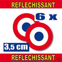 Cocarde RETRO REFLECHISSANTE FRANCE 6 stickers adhésifs rond Ø3,5cm lot de 6