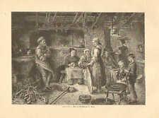 Bakery, Open Hearth Oven, Bread Baking, Vintage 1890 German Antique Art Print