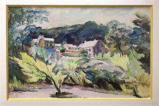 Rageade André aquarelle et gouache signée paysage campagne village vallon France