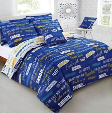 Printed Reversible Slogans Blue Bedding Set(Single/Double/king)