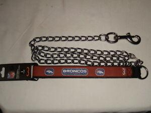 """NWT NFL GAMEWEAR DENVER BRONCOS BROWN LEATHER HEAVY DUTY DOG LEASH 1"""" X 4'"""