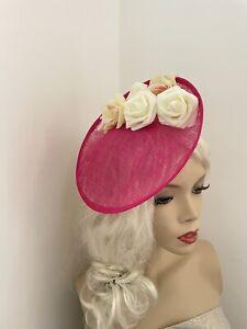 Fuchsia Pink Ivory/Cream Fascinator RoundSaucer Hat Hatinator Races Disc Wedding