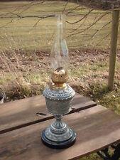 ANTIQUE PEWTER & CERAMIC  OIL  LAMP