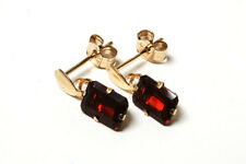 9ct Gold Garnet Drop Earrings Gift Boxed Made in UK