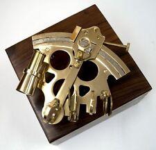 "Solid Brass Sextant 6"" w/ Wooden Case Nautical Marine Astrolabe Desktop Decor"