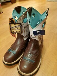 WOMENS 7 B ARIAT FAT BABY BROWN TEAL & CAMO BOOTS NEW