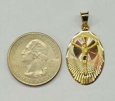 14k Solid Gold Jesus Christ Jesucristo Oval Charm Pendant 25 mm Tri Color Gold