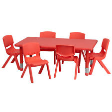 Kids Activity Table and Chairs Red Adjustable Stackable Daycare Preschool Play