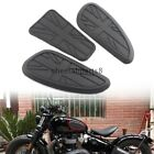 Black Motorcycle Tank Traction Side Pad Gas Fuel Knee Grip Protector For Harley