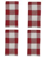 Set of 4 Park Designs LEMON PEPPER Buttercream Red Green Plaid Fabric Napkins