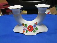 HUNGARY  KALOCSA HAND-PAINTED FLOWERS PORCELAIN CANDLESTICK CANDLE HOLDER