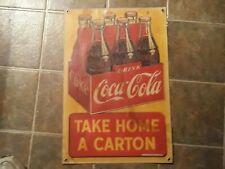 Vintage 1940s Coca Cola Take a Carton Home Heavy stock Paper Sign