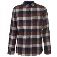 Pierre Cardin Mens Long Sleeve Brown Check Shirt Buttons UK Size 2XL XXL