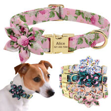 Flower Personalized Pet Dog Collar Custom ID Nameplate Free Engraving Adjustable
