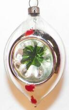 Antique Mercury Glass Christmas Ornament Indent Green Silver Red Blown #327